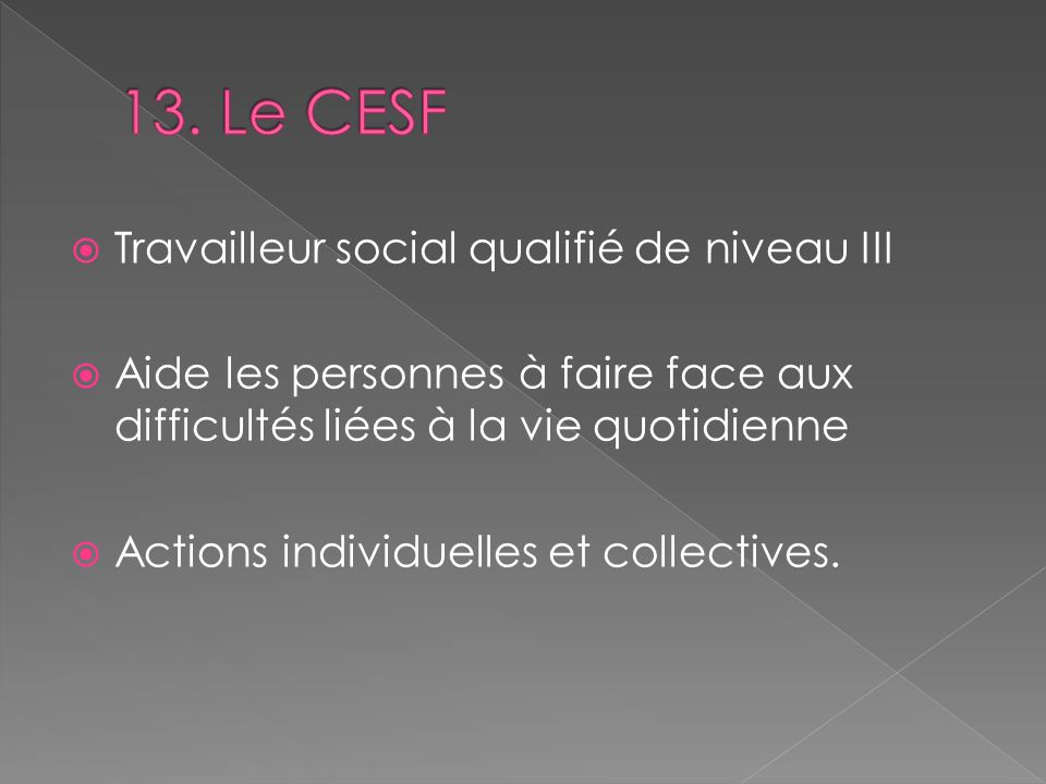 Travailleur social qualifié de niveau III Aide les personnes à faire face aux difficultés liées à la vie quotidienne Actions individuelles et collecti