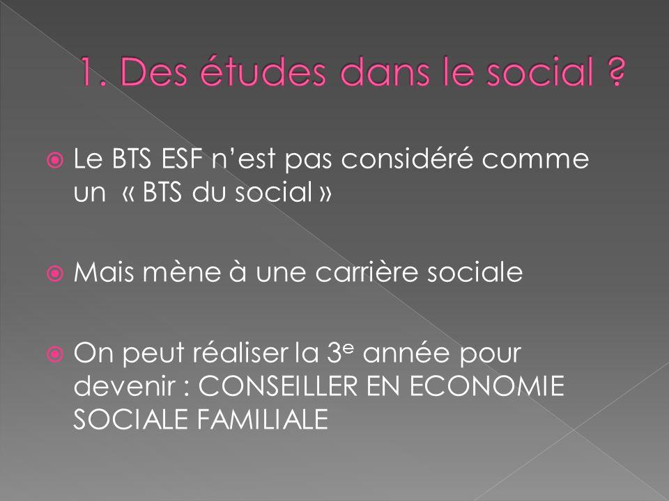 Le BTS ESF nest pas considéré comme un « BTS du social » Mais mène à une carrière sociale On peut réaliser la 3 e année pour devenir : CONSEILLER EN E