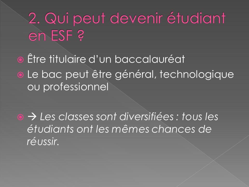 Être titulaire dun baccalauréat Le bac peut être général, technologique ou professionnel Les classes sont diversifiées : tous les étudiants ont les mê