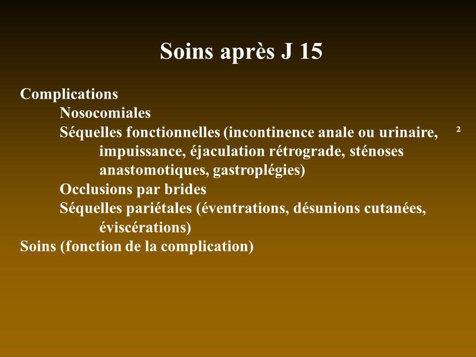 Soins après J 15 Complications Nosocomiales Séquelles fonctionnelles (incontinence anale ou urinaire, ² impuissance, éjaculation rétrograde, sténoses