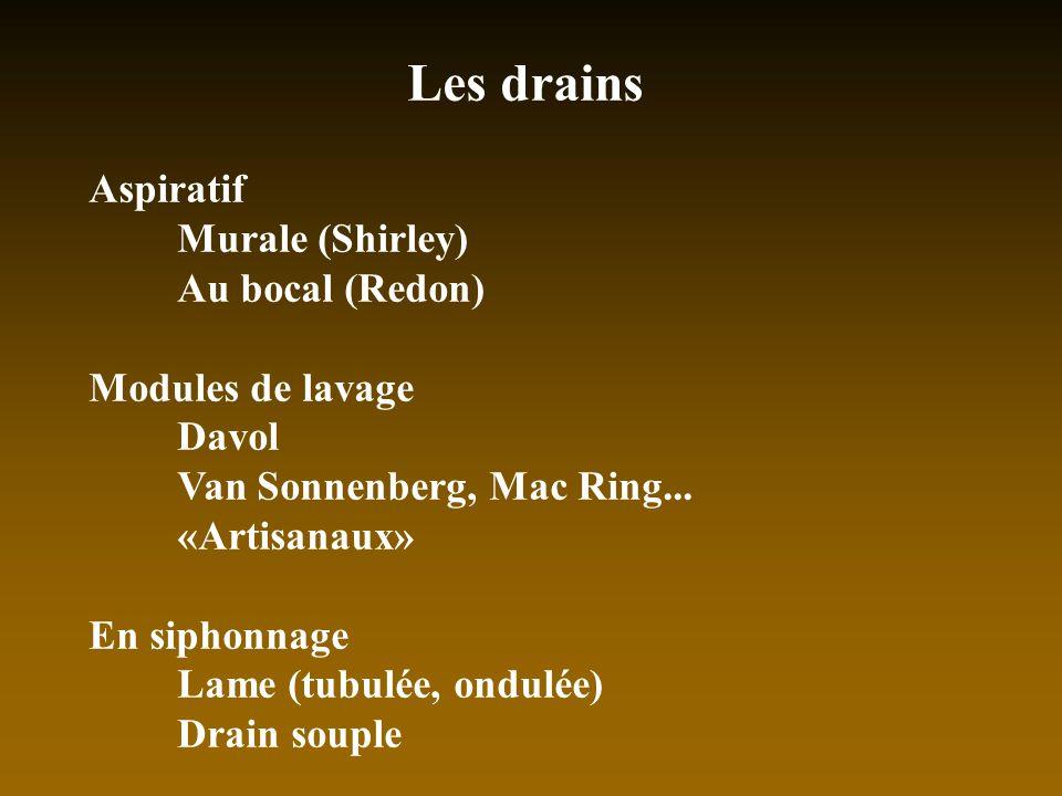 Les drains Aspiratif Murale (Shirley) Au bocal (Redon) Modules de lavage Davol Van Sonnenberg, Mac Ring... «Artisanaux» En siphonnage Lame (tubulée, o