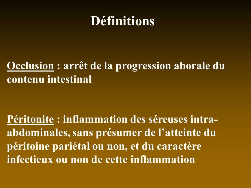 Définitions Occlusion : arrêt de la progression aborale du contenu intestinal Péritonite : inflammation des séreuses intra- abdominales, sans présumer