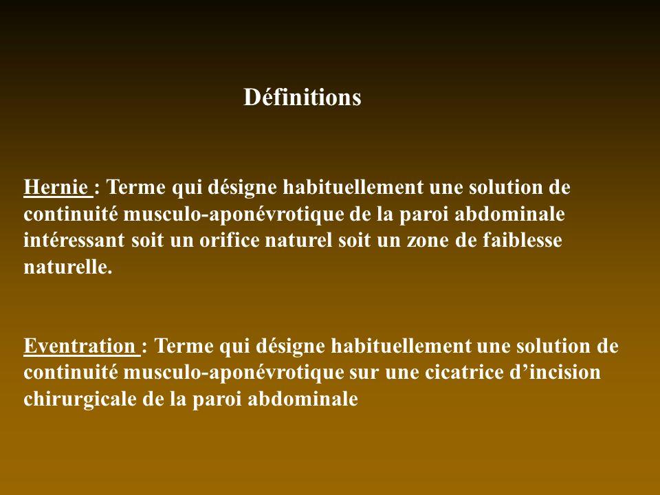 Définitions Hernie : Terme qui désigne habituellement une solution de continuité musculo-aponévrotique de la paroi abdominale intéressant soit un orif