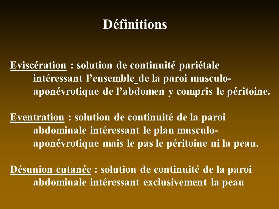 Définitions Eviscération : solution de continuité pariétale intéressant lensemble de la paroi musculo- aponévrotique de labdomen y compris le péritoin