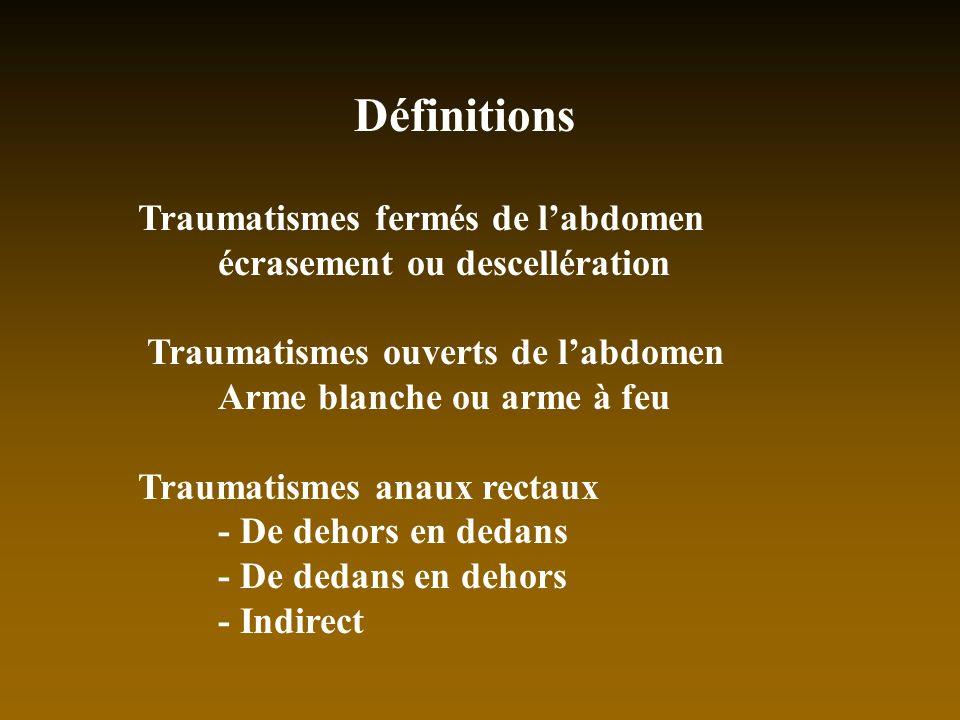 Définitions Traumatismes fermés de labdomen écrasement ou descellération Traumatismes ouverts de labdomen Arme blanche ou arme à feu Traumatismes anau