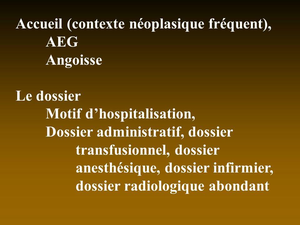 Accueil (contexte néoplasique fréquent), AEG Angoisse Le dossier Motif dhospitalisation, Dossier administratif, dossier transfusionnel, dossier anesth