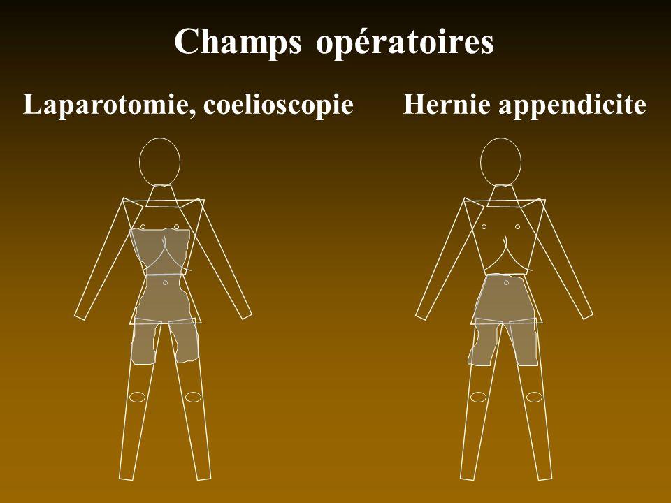 Champs opératoires Laparotomie, coelioscopieHernie appendicite