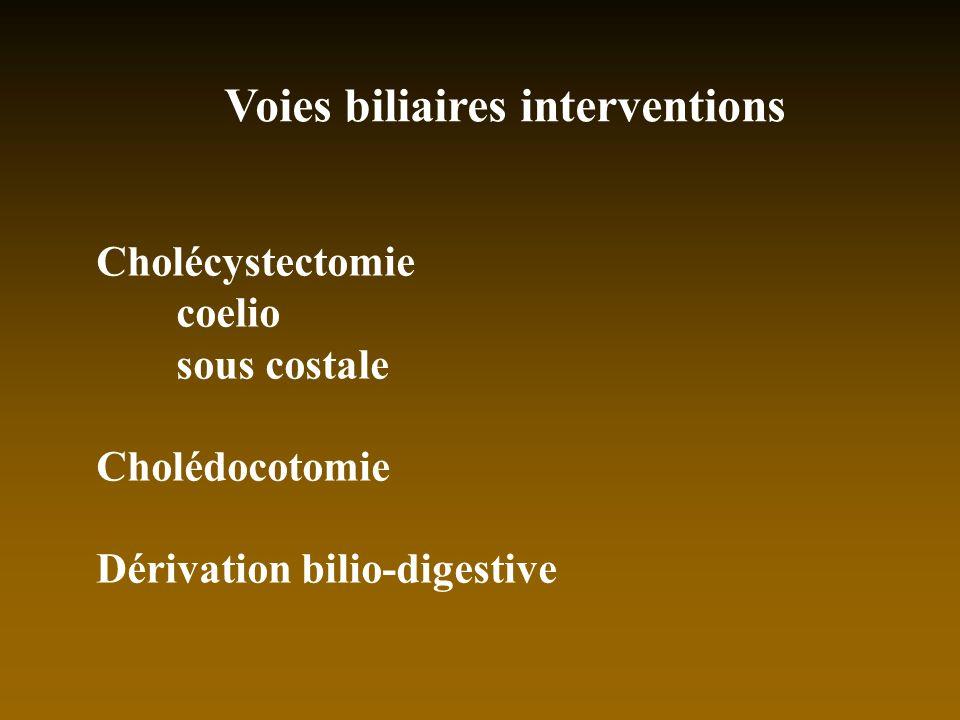 Voies biliaires interventions Cholécystectomie coelio sous costale Cholédocotomie Dérivation bilio-digestive