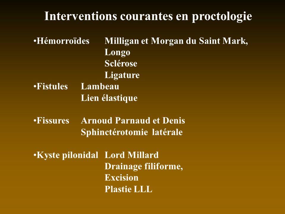 Interventions courantes en proctologie HémorroïdesMilligan et Morgan du Saint Mark, Longo Sclérose Ligature FistulesLambeau Lien élastique FissuresArn