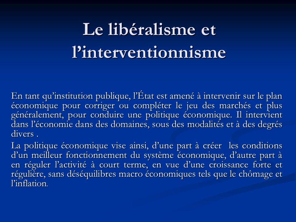 Le libéralisme et linterventionnisme En tant quinstitution publique, lÉtat est amené à intervenir sur le plan économique pour corriger ou compléter le