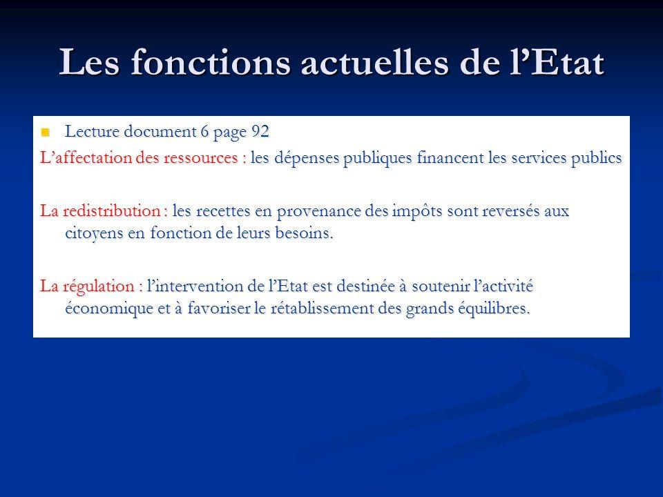 Les fonctions actuelles de lEtat Lecture document 6 page 92 Laffectation des ressources : les dépenses publiques financent les services publics La red