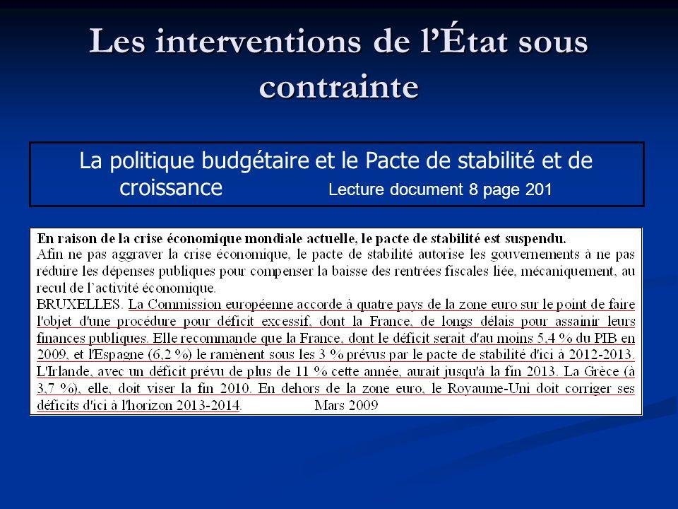 Les interventions de lÉtat sous contrainte La politique budgétaire et le Pacte de stabilité et de croissance Lecture document 8 page 201