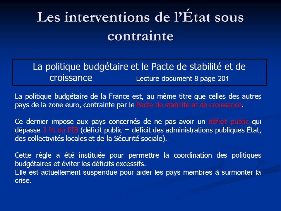 Les interventions de lÉtat sous contrainte La politique budgétaire et le Pacte de stabilité et de croissance Lecture document 8 page 201 La politique