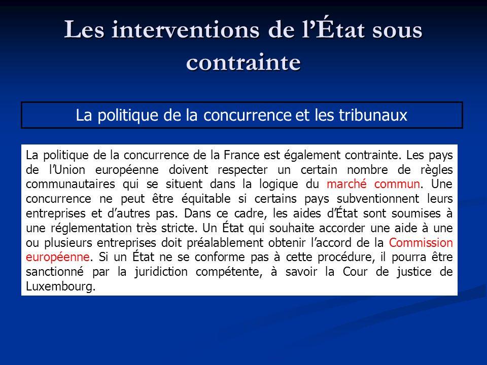 Les interventions de lÉtat sous contrainte La politique de la concurrence et les tribunaux La politique de la concurrence de la France est également c