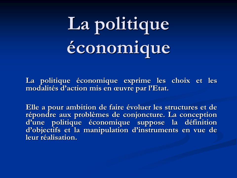 La politique économique La politique économique exprime les choix et les modalités daction mis en œuvre par lEtat. Elle a pour ambition de faire évolu