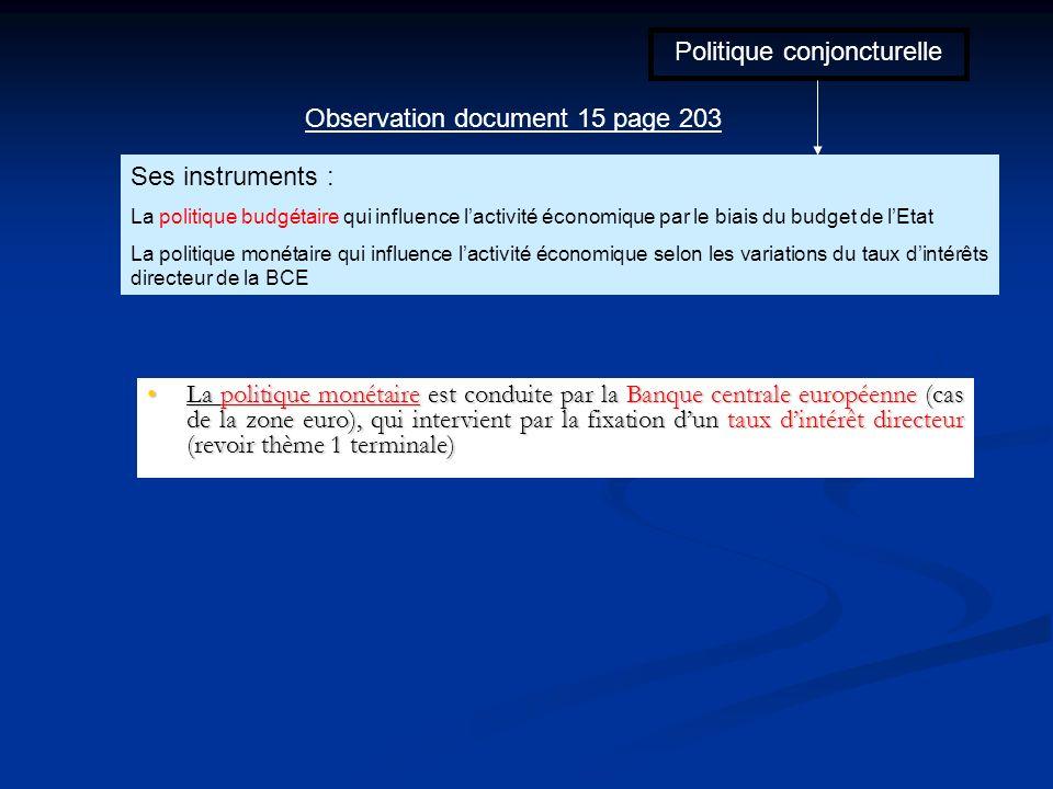 Politique conjoncturelle Ses instruments : La politique budgétaire qui influence lactivité économique par le biais du budget de lEtat La politique mon