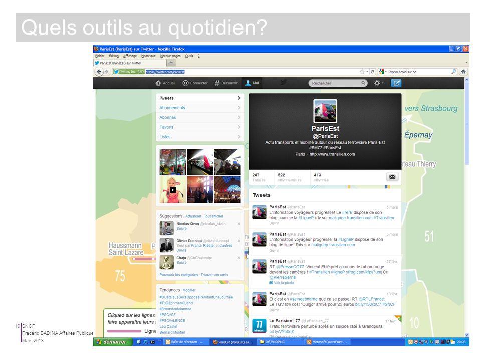 SNCF Mars 2013 Frédéric BADINA Affaires Publiques | Relations Institutionnelles 9 Quels outils au quotidien?