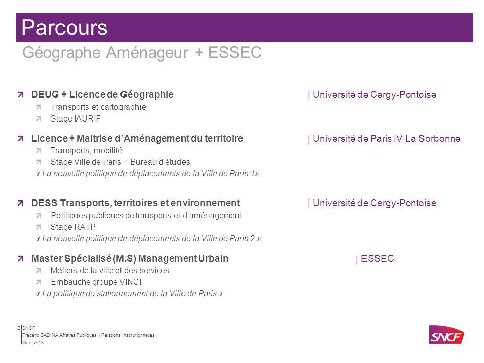 SNCF Mars 2013 Frédéric BADINA Affaires Publiques | Relations Institutionnelles 1 SOMMAIRE PARCOURS La géographie est transversale à tous les métiers