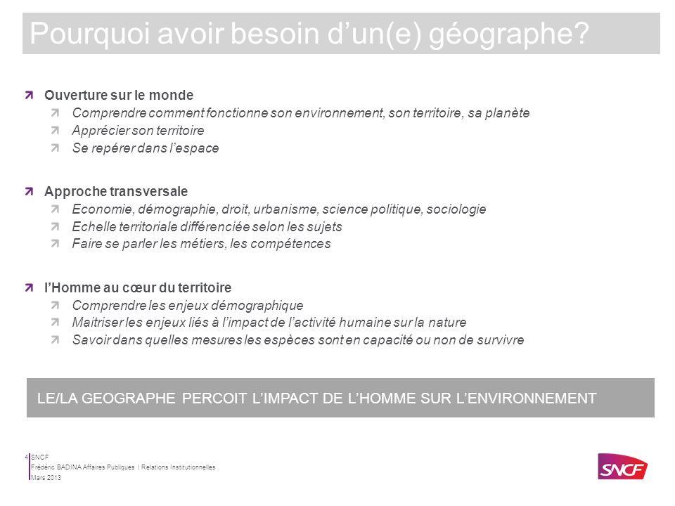 SNCF Mars 2013 Frédéric BADINA Affaires Publiques | Relations Institutionnelles 3 VINCI | Direction Paris | Chargé de mission développement et interfa