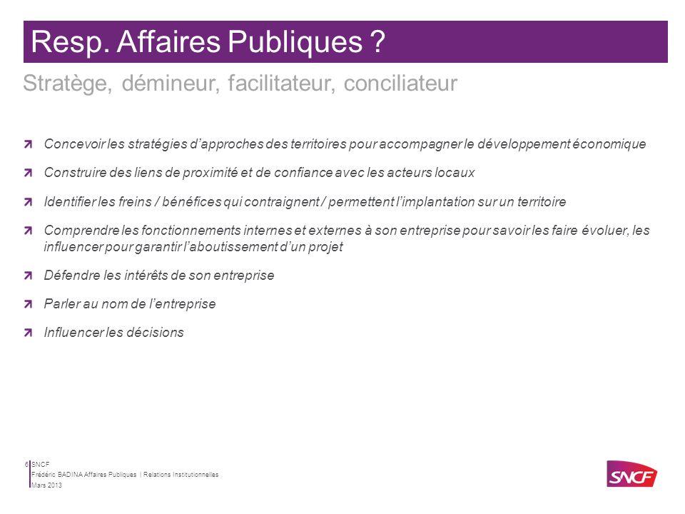 SNCF Mars 2013 Frédéric BADINA Affaires Publiques | Relations Institutionnelles 5 Il dispose de la culture de lentreprise Apprendre ce quest le monde