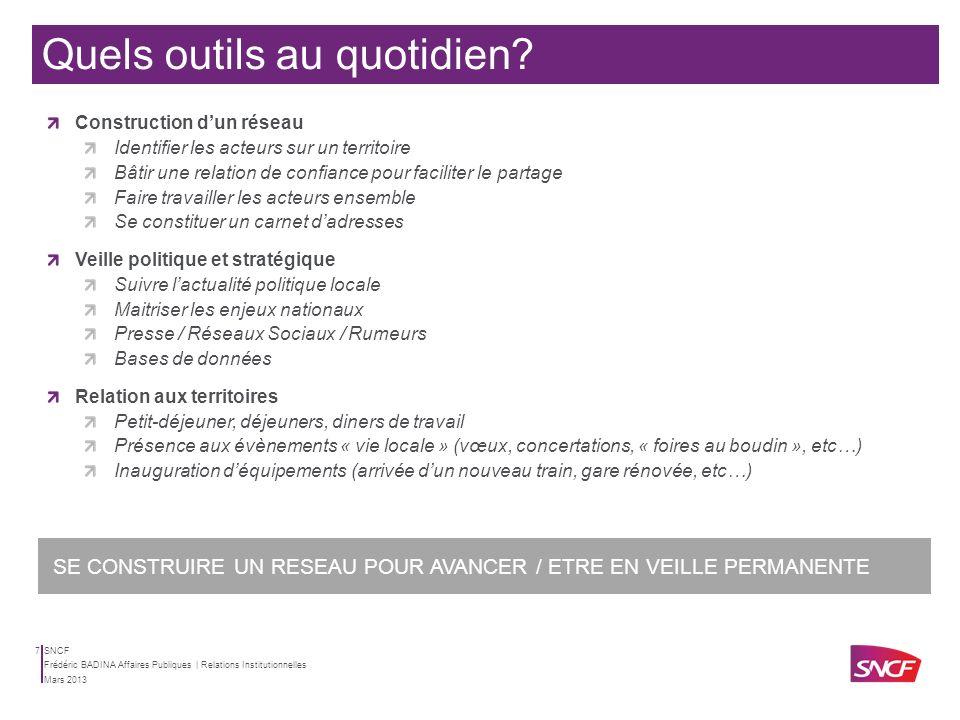 SNCF Mars 2013 Frédéric BADINA Affaires Publiques | Relations Institutionnelles 6 Concevoir les stratégies dapproches des territoires pour accompagner