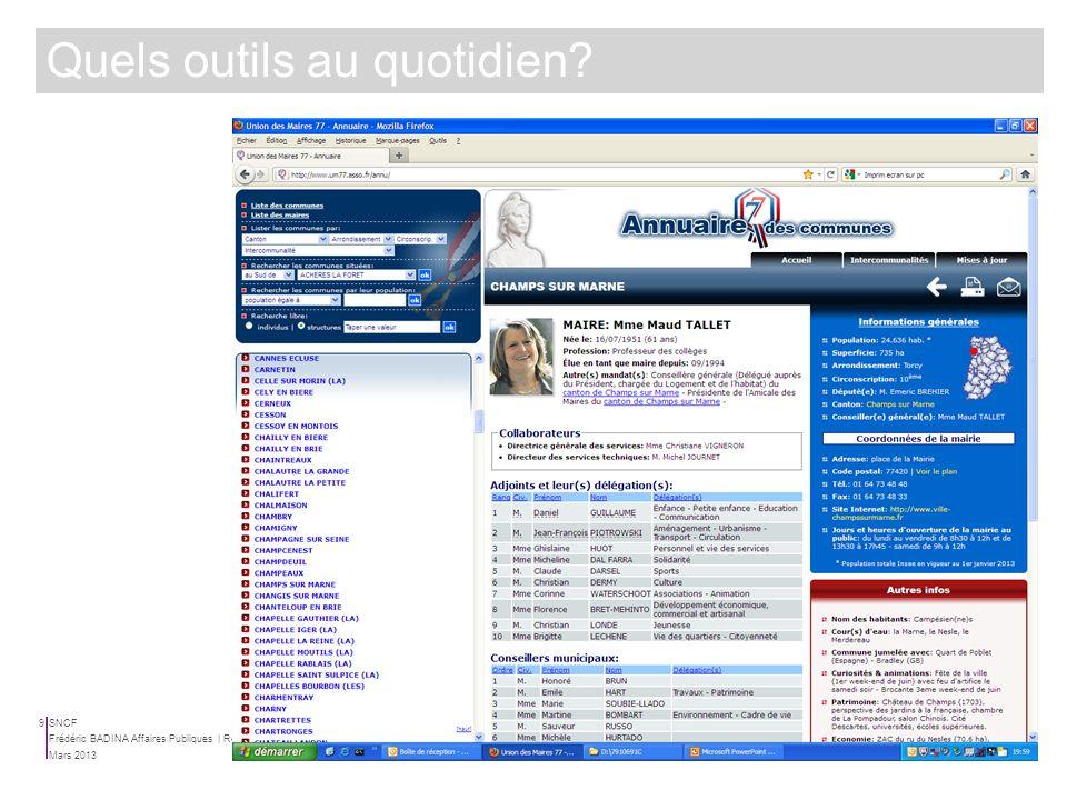 SNCF Mars 2013 Frédéric BADINA Affaires Publiques | Relations Institutionnelles 8 Quels outils au quotidien?
