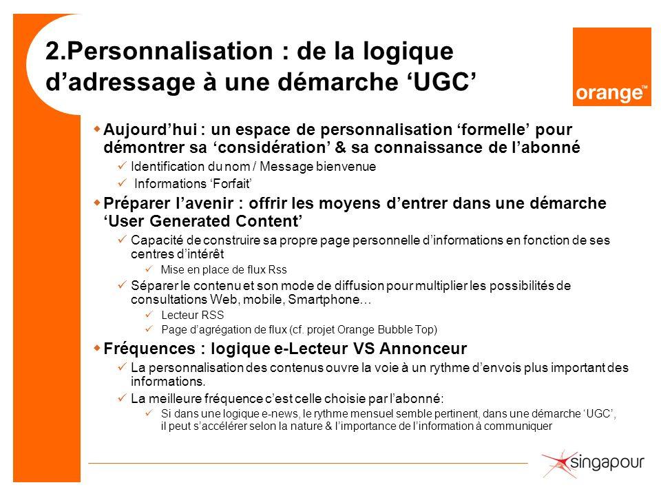 2.Personnalisation : de la logique dadressage à une démarche UGC wAujourdhui : un espace de personnalisation formelle pour démontrer sa considération