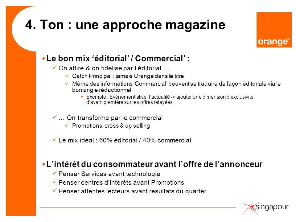 4. Ton : une approche magazine wLe bon mix éditorial / Commercial : On attire & on fidélise par léditorial … Catch Principal : jamais Orange dans le t