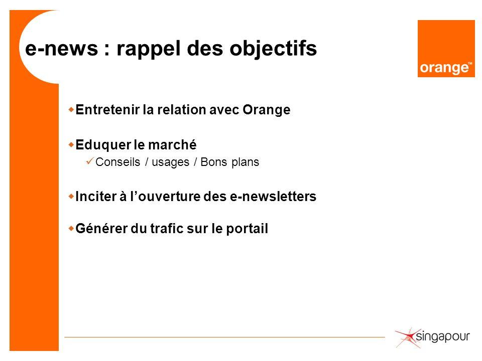 e-news : rappel des objectifs wEntretenir la relation avec Orange wEduquer le marché Conseils / usages / Bons plans wInciter à louverture des e-newsle