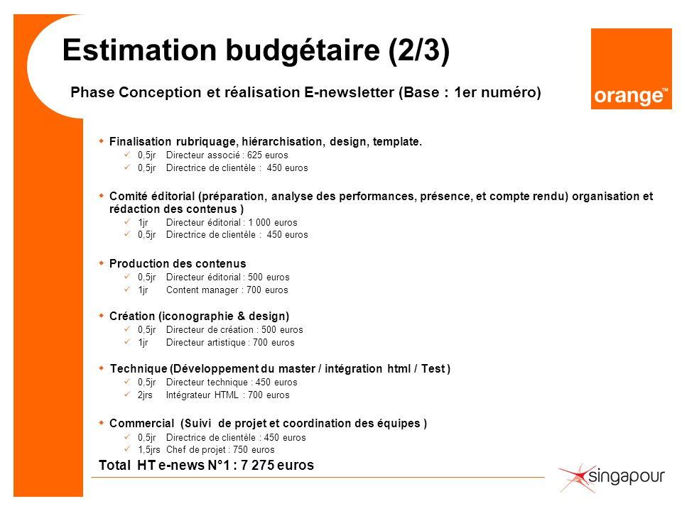 Estimation budgétaire (2/3) Phase Conception et réalisation E-newsletter (Base : 1er numéro) wFinalisation rubriquage, hiérarchisation, design, template.