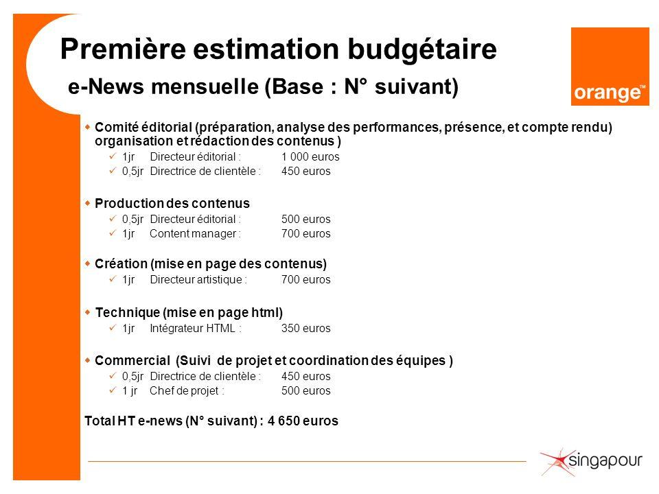 Première estimation budgétaire e-News mensuelle (Base : N° suivant) wComité éditorial (préparation, analyse des performances, présence, et compte rend