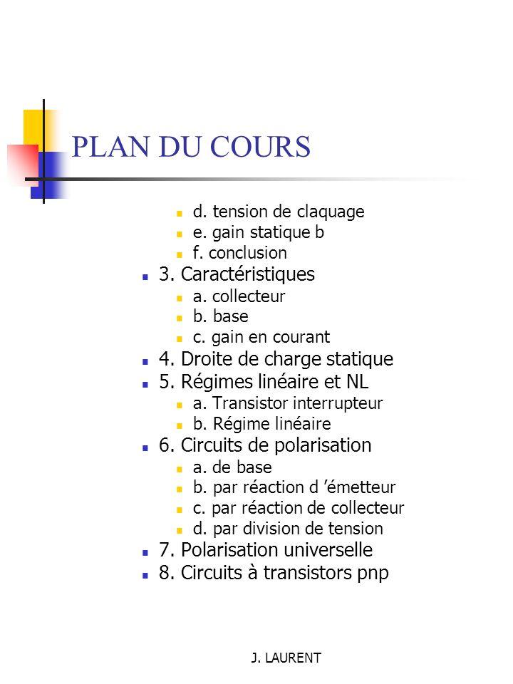 J.LAURENT II.5. Théorème de superposition Démarche de l étude 1.
