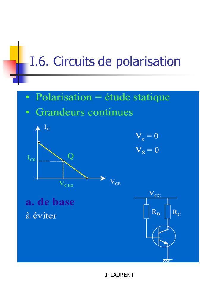 J. LAURENT I.6. Circuits de polarisation