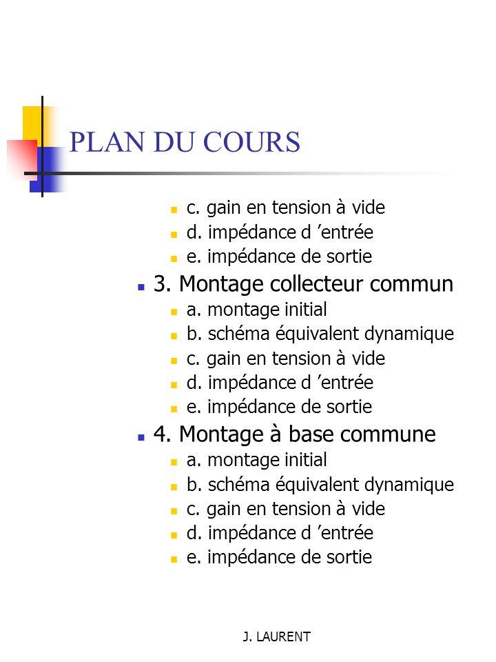 J.LAURENT PLAN DU COURS Chap 3. Les transistors à effet de champ I.