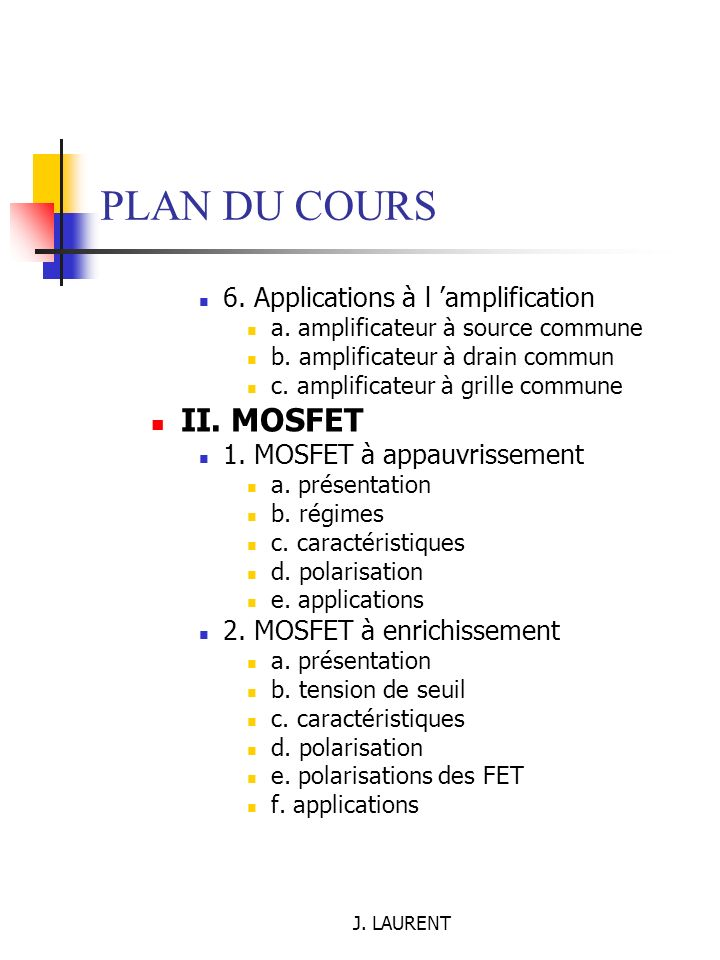 J.LAURENT PLAN DU COURS 6. Applications à l amplification a.