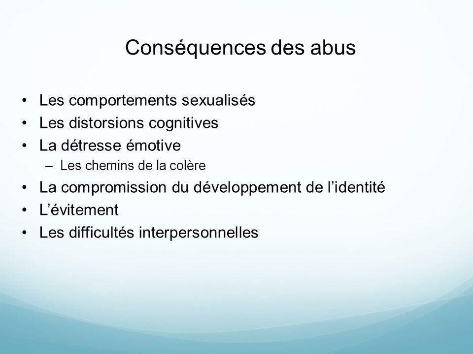 Conséquences des abus Les comportements sexualisés Les distorsions cognitives La détresse émotive –Les chemins de la colère La compromission du dévelo