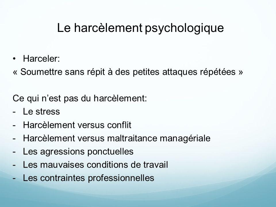 Le harcèlement psychologique Harceler: « Soumettre sans répit à des petites attaques répétées » Ce qui nest pas du harcèlement: -Le stress -Harcèlemen