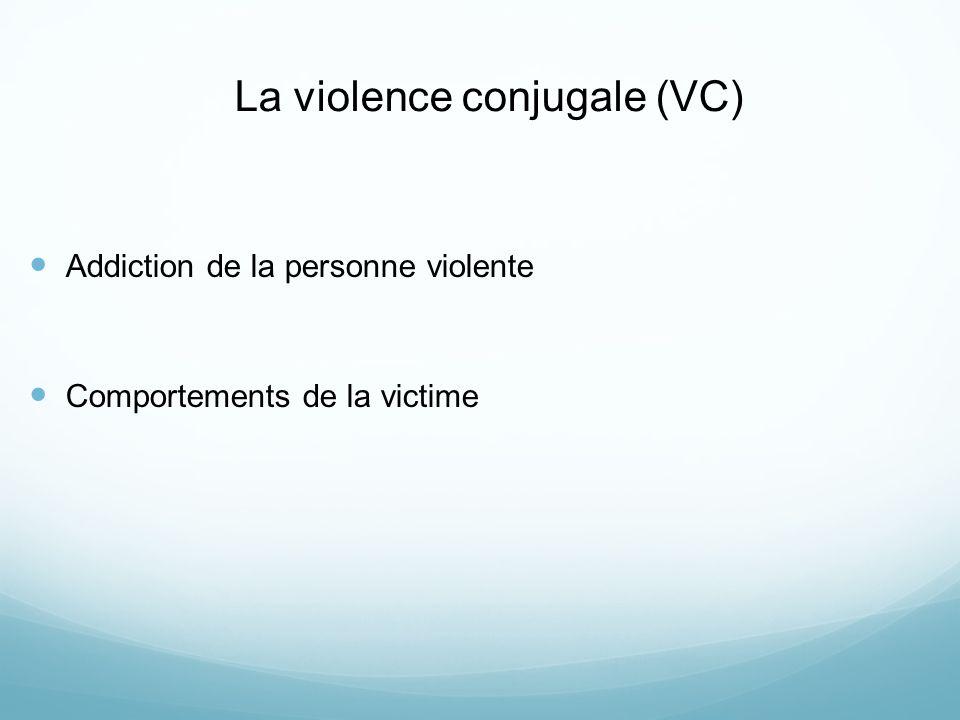 La violence conjugale (VC) Addiction de la personne violente Comportements de la victime
