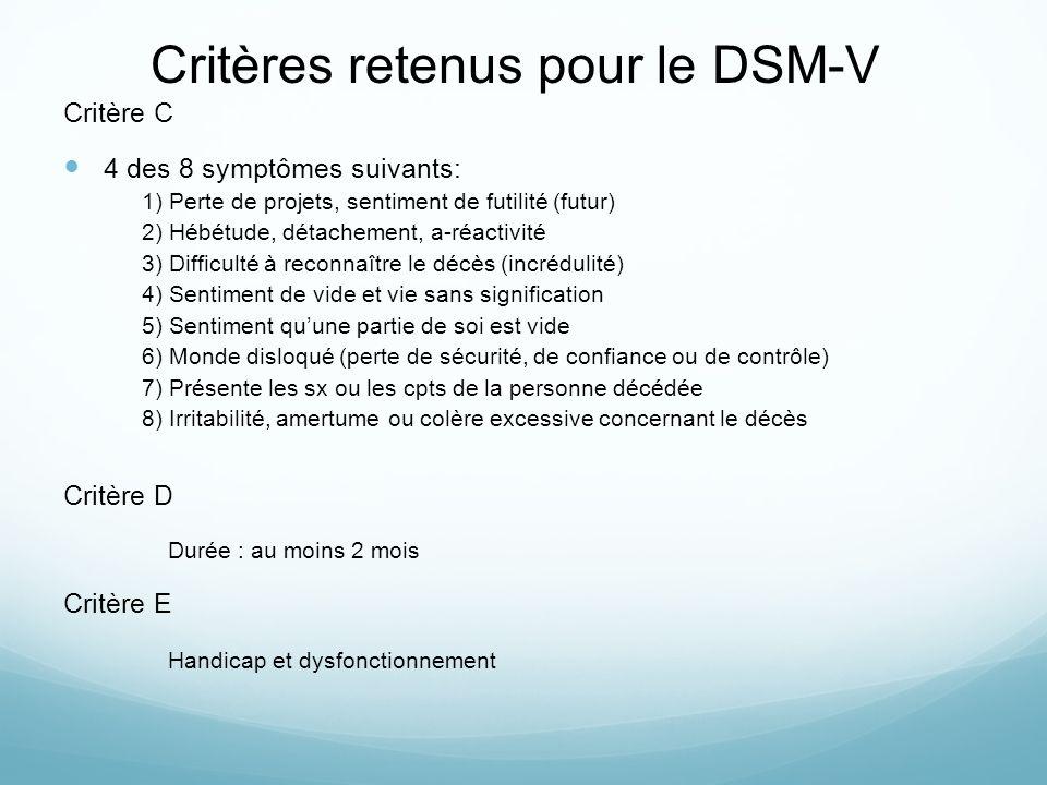 Critères retenus pour le DSM-V Critère C 4 des 8 symptômes suivants: 1) Perte de projets, sentiment de futilité (futur) 2) Hébétude, détachement, a-ré