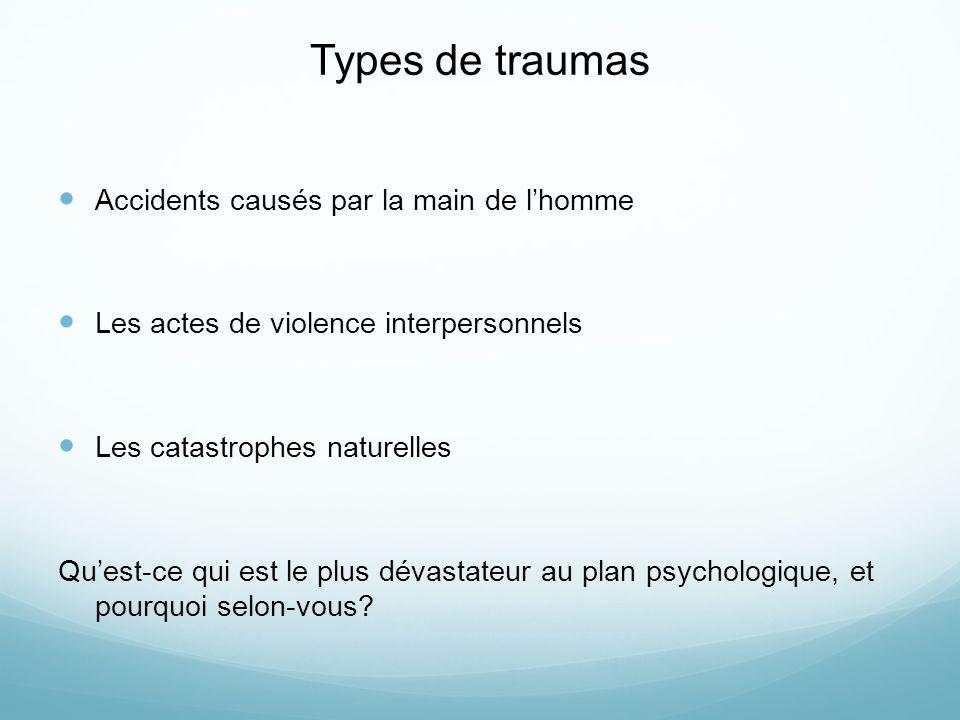 Types de traumas Accidents causés par la main de lhomme Les actes de violence interpersonnels Les catastrophes naturelles Quest-ce qui est le plus dévastateur au plan psychologique, et pourquoi selon-vous?