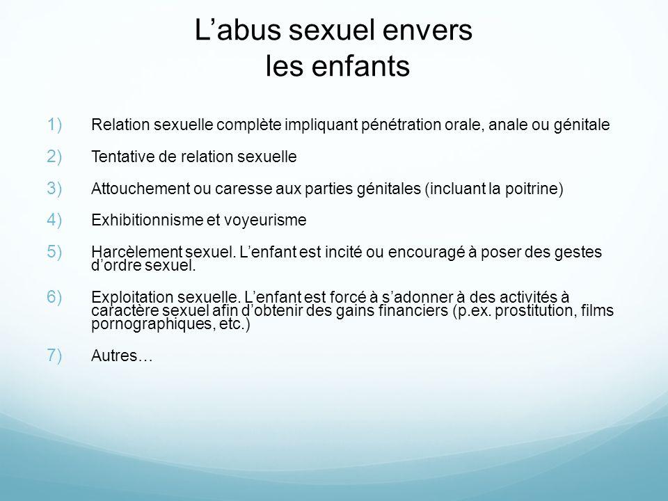 Labus sexuel envers les enfants 1) Relation sexuelle complète impliquant pénétration orale, anale ou génitale 2) Tentative de relation sexuelle 3) Att