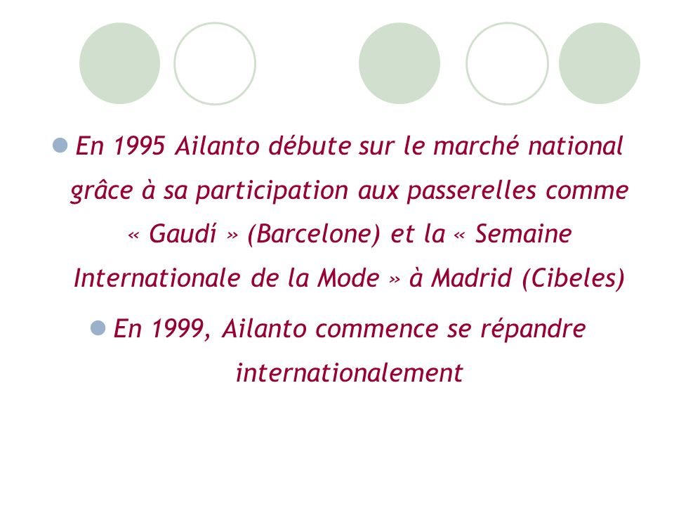 En 1995 Ailanto débute sur le marché national grâce à sa participation aux passerelles comme « Gaudí » (Barcelone) et la « Semaine Internationale de la Mode » à Madrid (Cibeles) En 1999, Ailanto commence se répandre internationalement