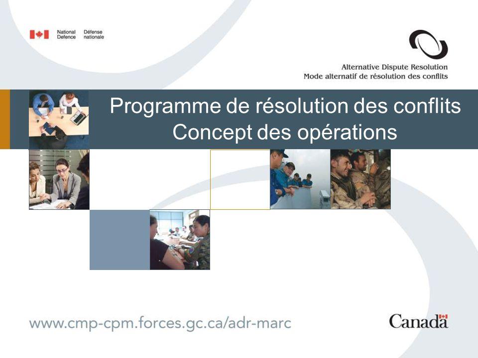 Programme de résolution des conflits Concept des opérations