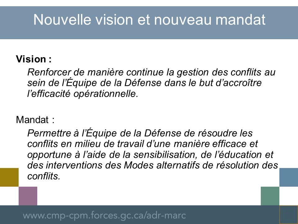 Nouvelle vision et nouveau mandat Vision : Renforcer de manière continue la gestion des conflits au sein de lÉquipe de la Défense dans le but daccroître lefficacité opérationnelle.