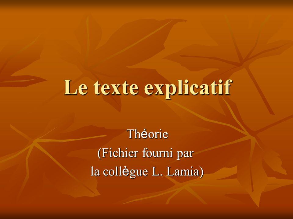 Le texte explicatif Théorie (Fichier fourni par la collègue L. Lamia)