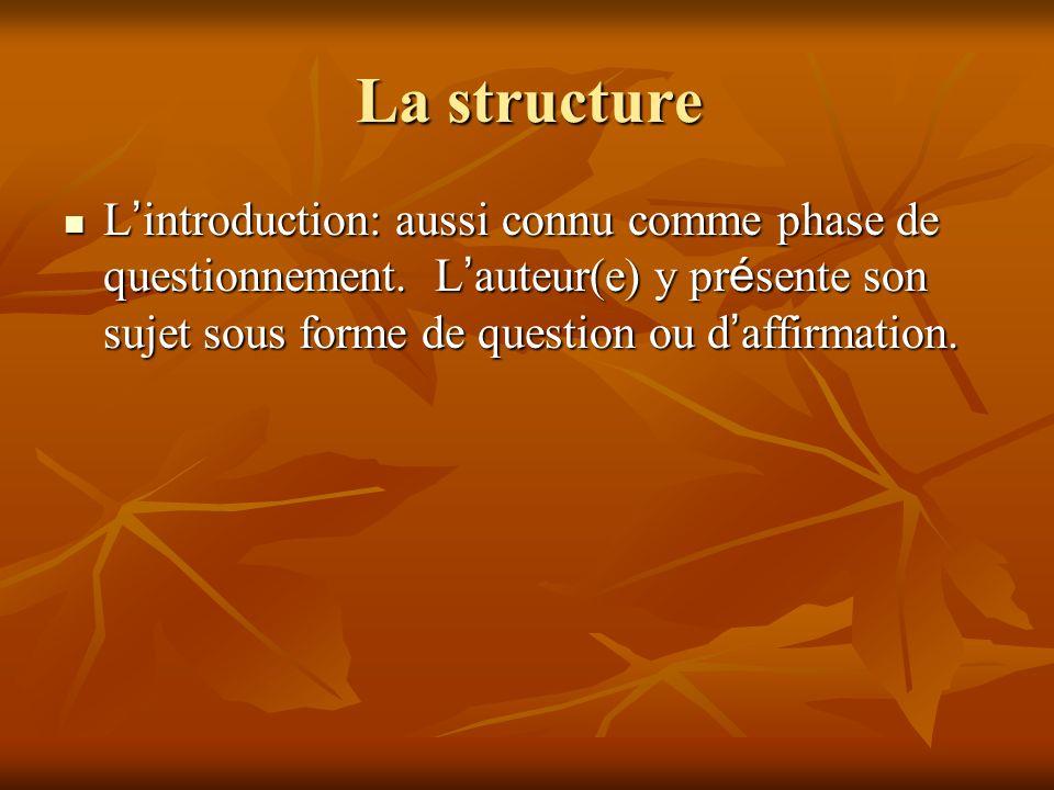 La structure L introduction: aussi connu comme phase de questionnement. L auteur(e) y pr é sente son sujet sous forme de question ou d affirmation. L