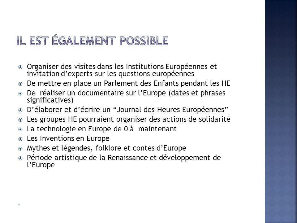 Organiser des visites dans les Institutions Européennes et invitation dexperts sur les questions européennes De mettre en place un Parlement des Enfan