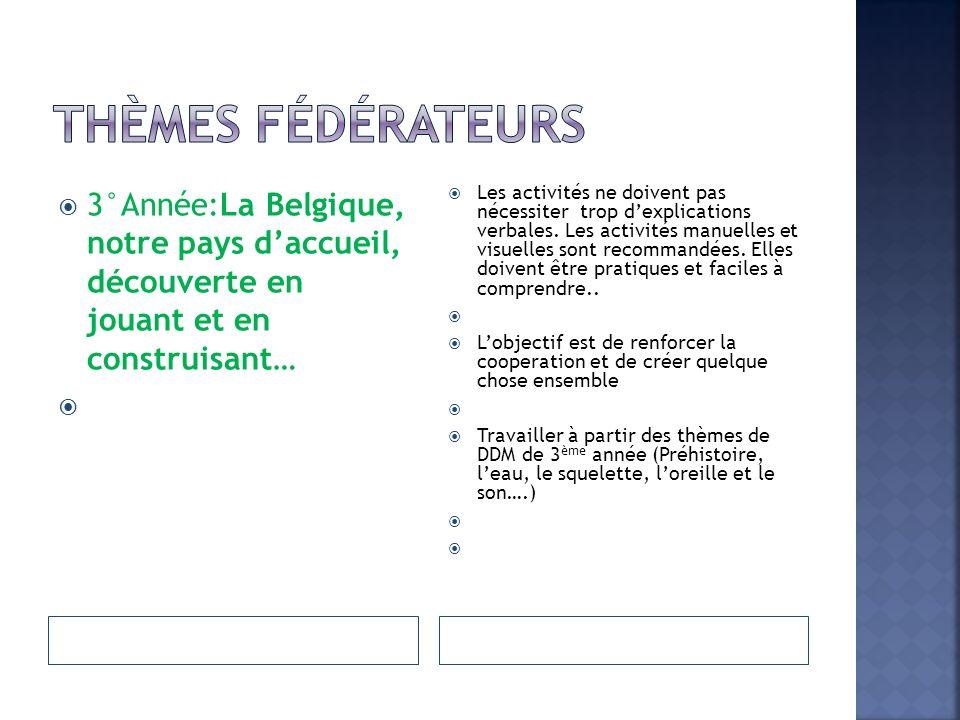 3°Année:La Belgique, notre pays daccueil, découverte en jouant et en construisant… Les activités ne doivent pas nécessiter trop dexplications verbales