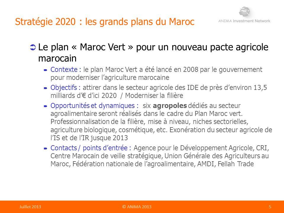 Stratégie 2020 : les grands plans du Maroc Le plan « Maroc Vert » pour un nouveau pacte agricole marocain Contexte : le plan Maroc Vert a été lancé en