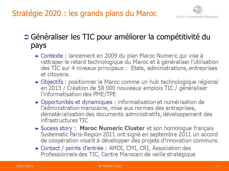 Stratégie 2020 : les grands plans du Maroc Généraliser les TIC pour améliorer la compétitivité du pays Contexte : lancement en 2009 du plan Maroc Nume